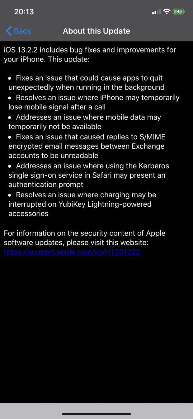 Catatan rilis iOS 13.2.2