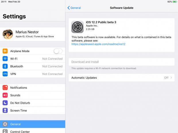 iOS 12.2 Public beta 3