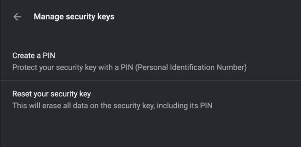 You can now manager security keys