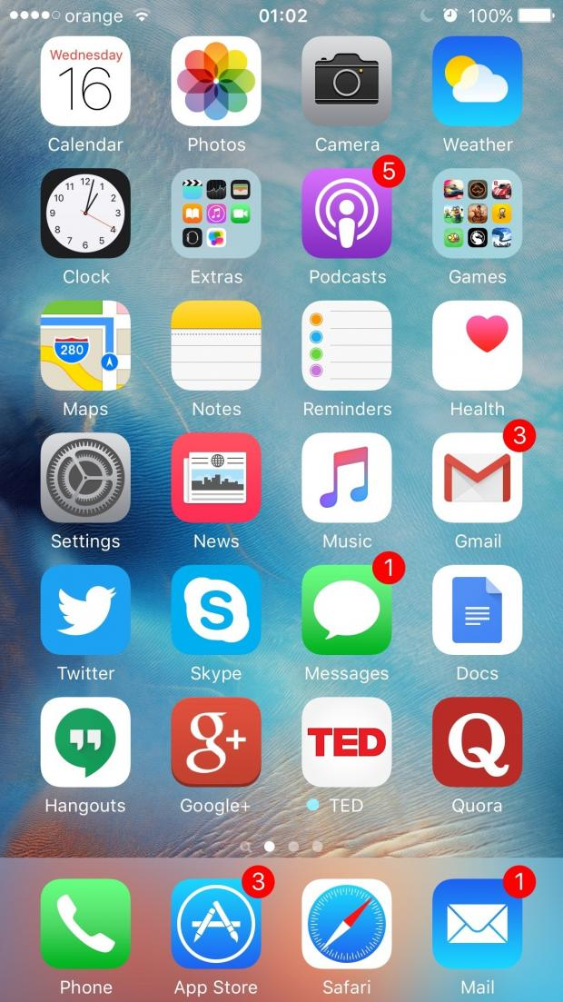 iOS 9 on the iPhone 6s
