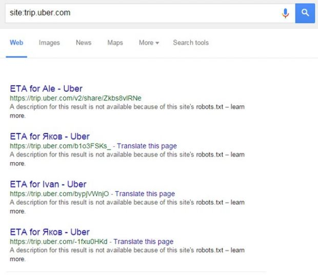 Uber Trip Information Exposed via Google Searches