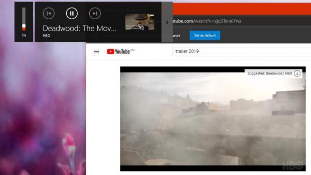 YouTube thumbnail in media controls overlay on Windows 10