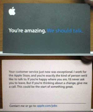 Apple stealing other companies employees apple recruiting card reheart Choice Image