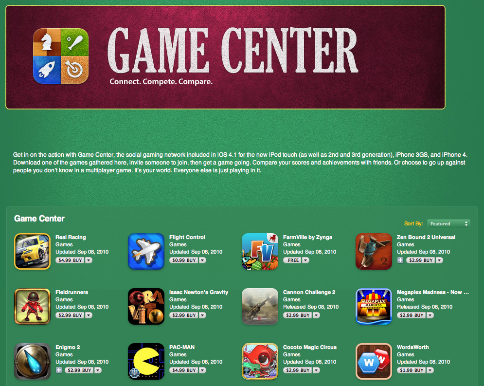 Apple Launches Dedicated iTunes Section for Game Center Apps