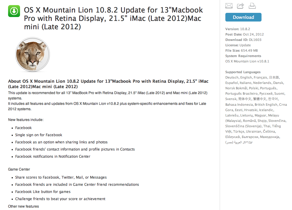 Apple Launches New OS X Mountain Lion Update for 2012 Macs