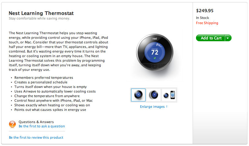 Apple Store Back Online Featuring Nest Thermostat