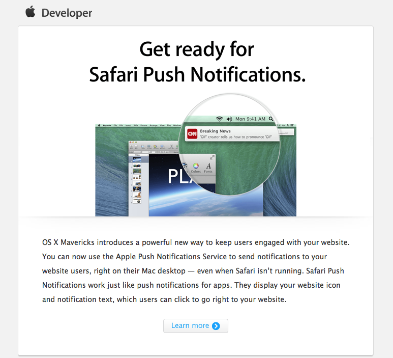 Apple Opens Safari Push Notifications Service to Website Owners