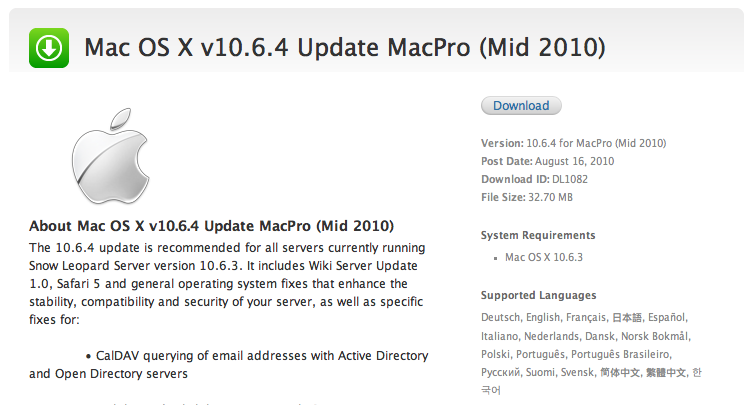 Apple Posts New Mac OS X 10 6 4 Update for Mac Pro Mid 2010