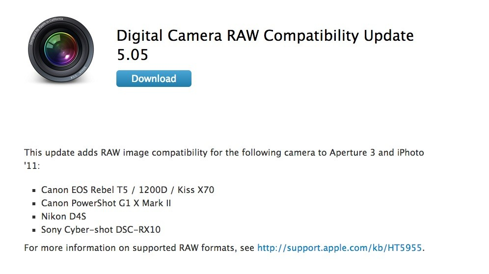 Apple Releases Digital Camera RAW Compatibility Update 5 05