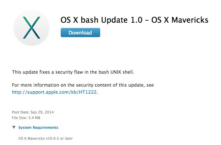 Apple Releases Os X Bash Update 10 To Address Shellshock On Three