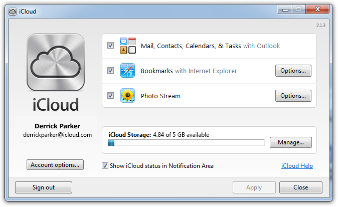 Apple Releases iCloud Control Panel 2 1 3 for Windows Vista