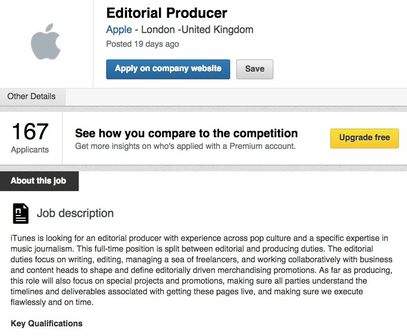 Apples New Music Service Needs Editorial Producer Job Opening