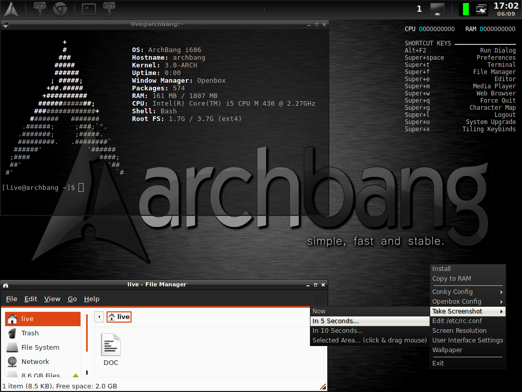 ArchBang 2011 09 Includes the Linux 3 0 4-1 Kernel