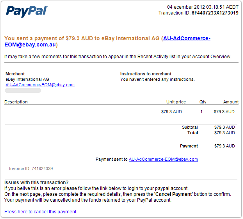 Australian PayPal Users Targeted By Phishers With Fake EBay Payments - Ebay invoice payment
