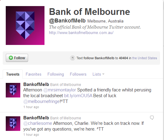 Bank of Melbourne Twitter Account Hacked