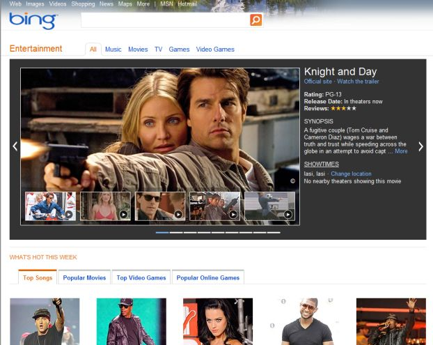 Bing Entertainment Vertical Focuses on Music, Gaming, Movies and TV