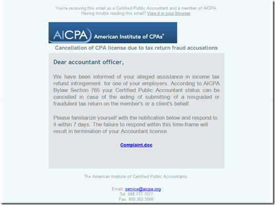 """Bogus AICPA """"Income Tax Refund Infringement"""" Email Serves Trojan"""