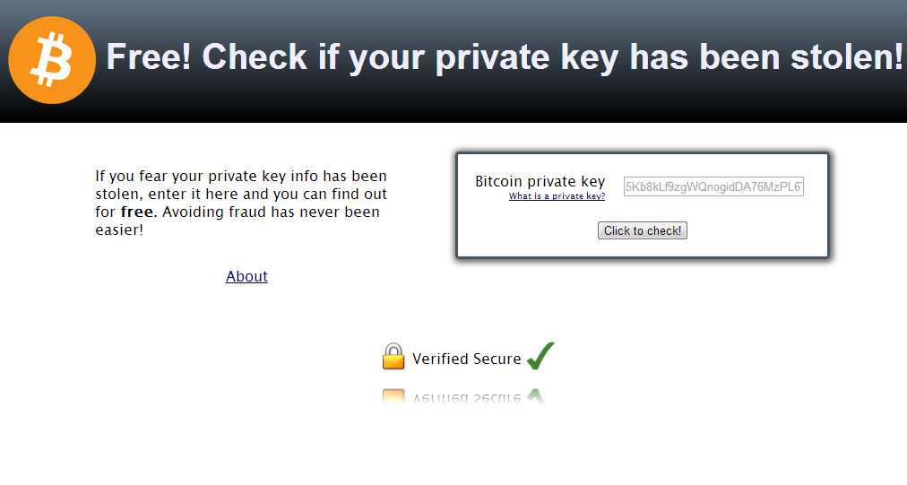 Private key bitcoin address checking