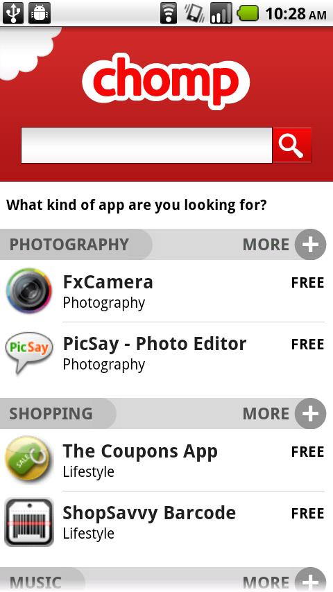 Chomp App Search Tool for Android Available Now via Verizon V CAST Apps