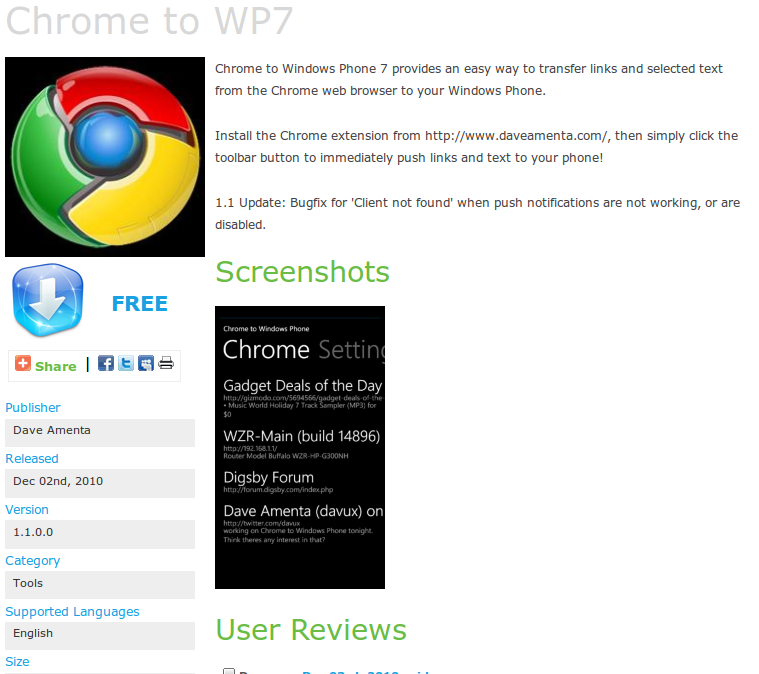 Chrome to Windows Phone 7 Released, Opera Link Coming Soon