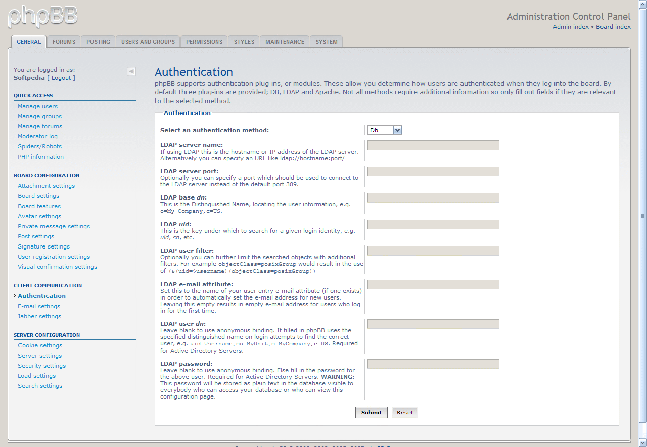 Communication Settings in phpBB3