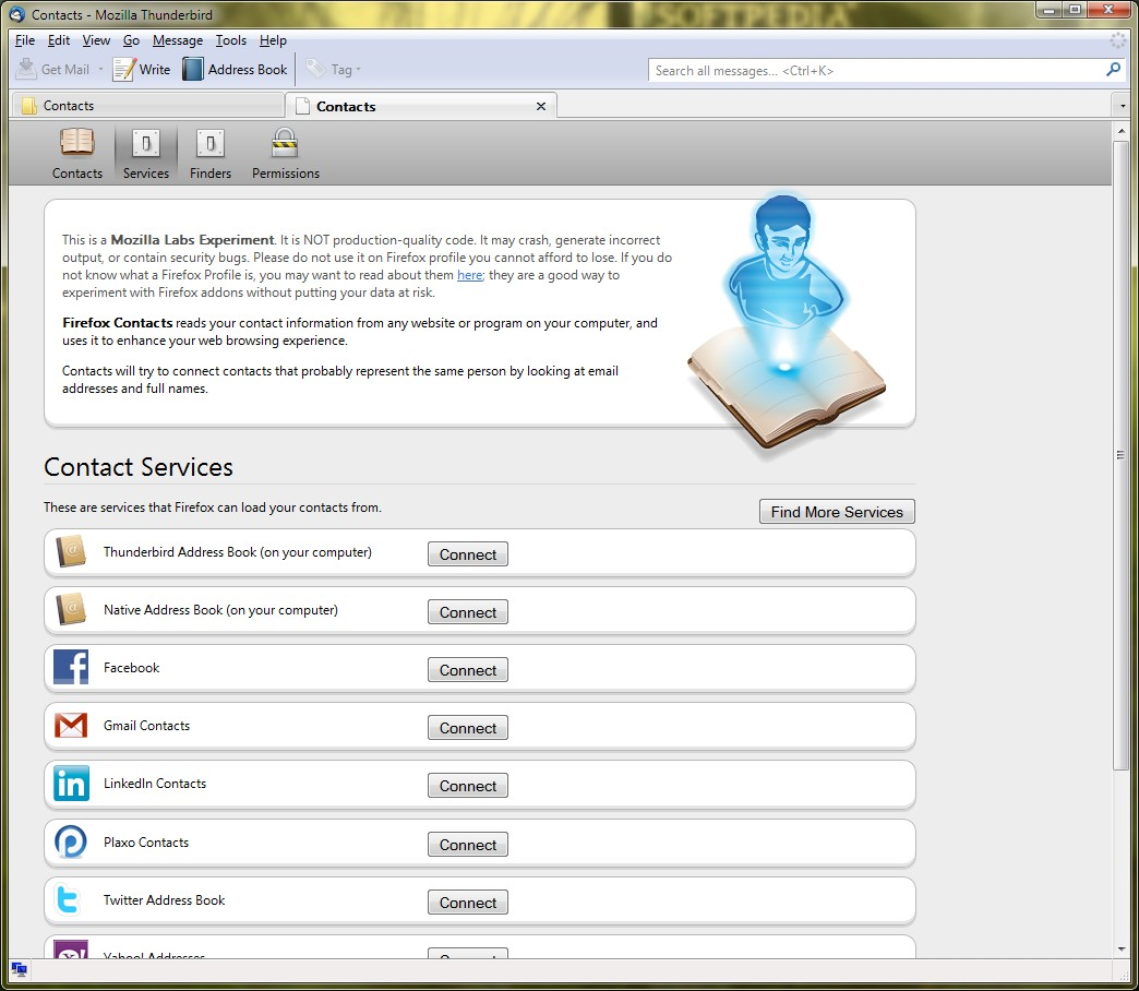 Contacts for Thunderbird Aggregates Contact Data from