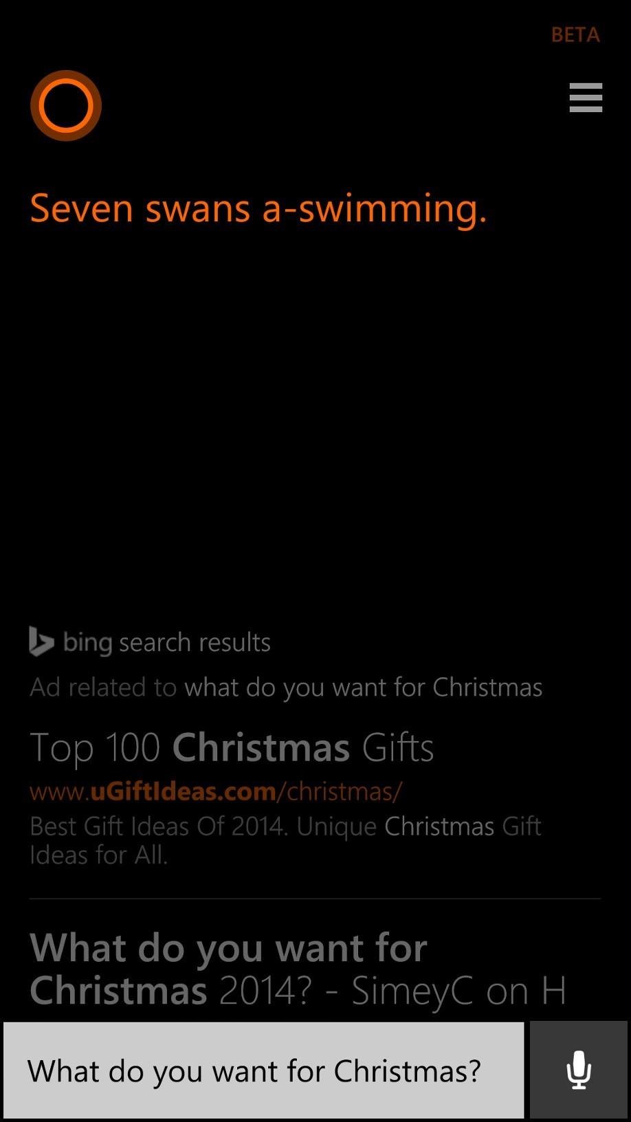 christmas themed cortana answer - Unique Christmas Songs