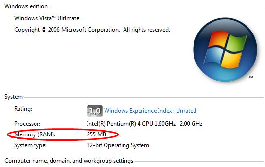 Managing virtual memory / pagefile in windows vista.