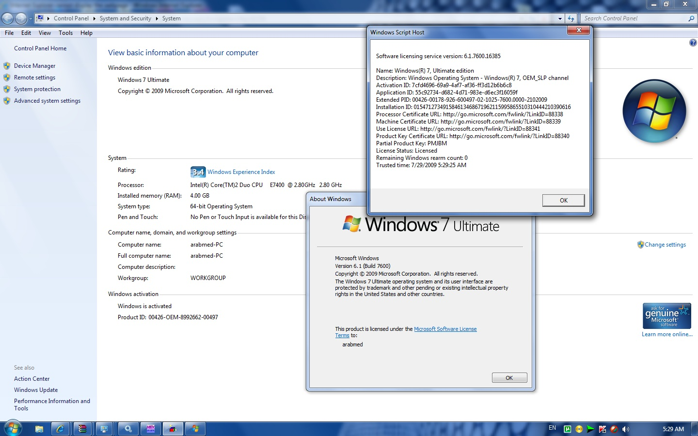 Cracked Windows 7 RTM Ultimate Activated with OEM SLP Master Product Key