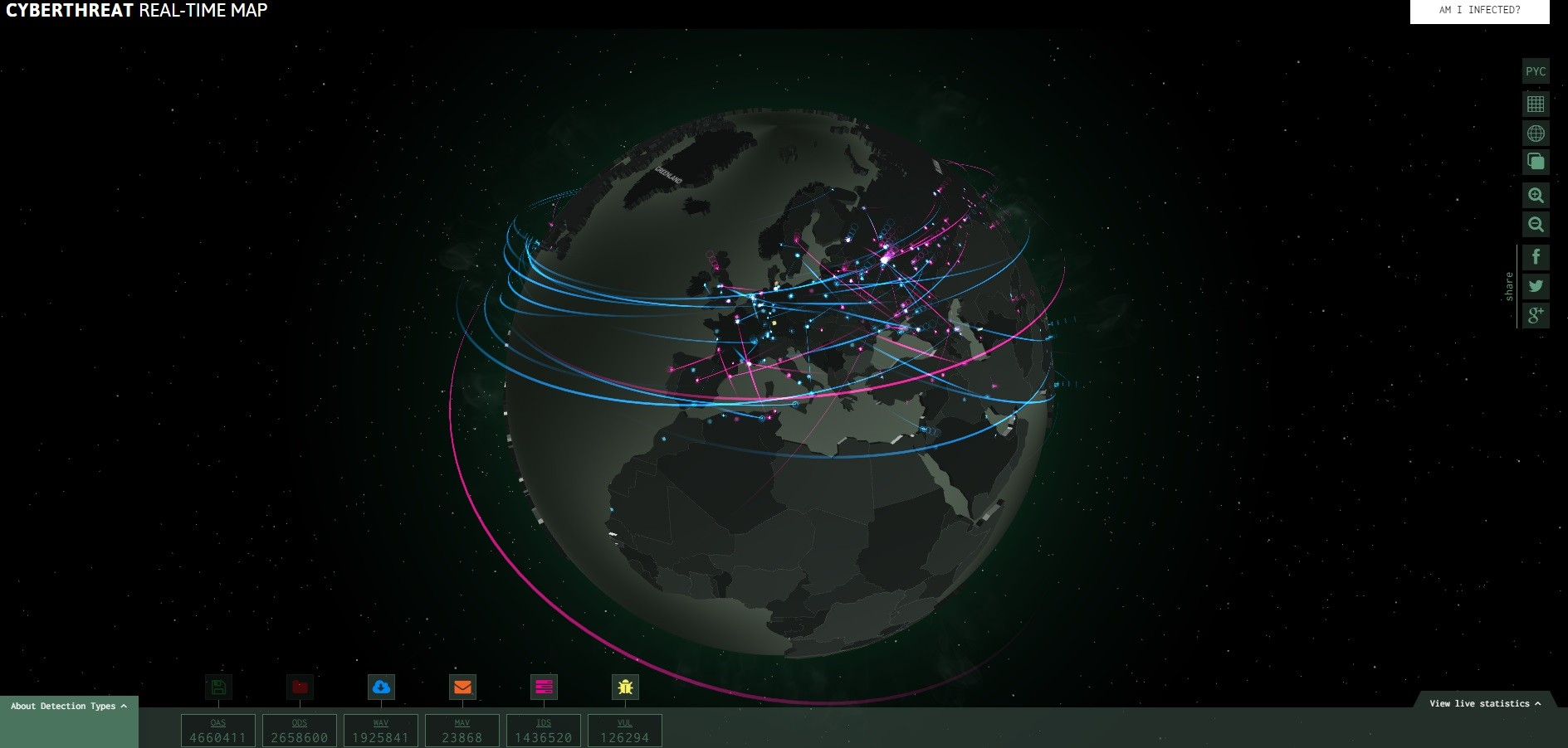 Cyber attack maps are a trove of information threat map from norse fireeyes threatmap kasperskys cyberthreat map interactive globe gumiabroncs Choice Image