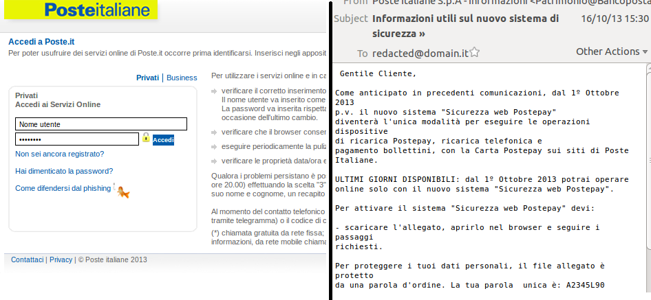 Cybercriminals Use Password Protected Forms To Phish Poste Italiane