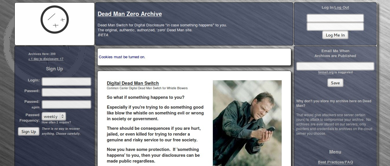 Deep Web Service Provides Dead-Man Switches to Whistleblowers