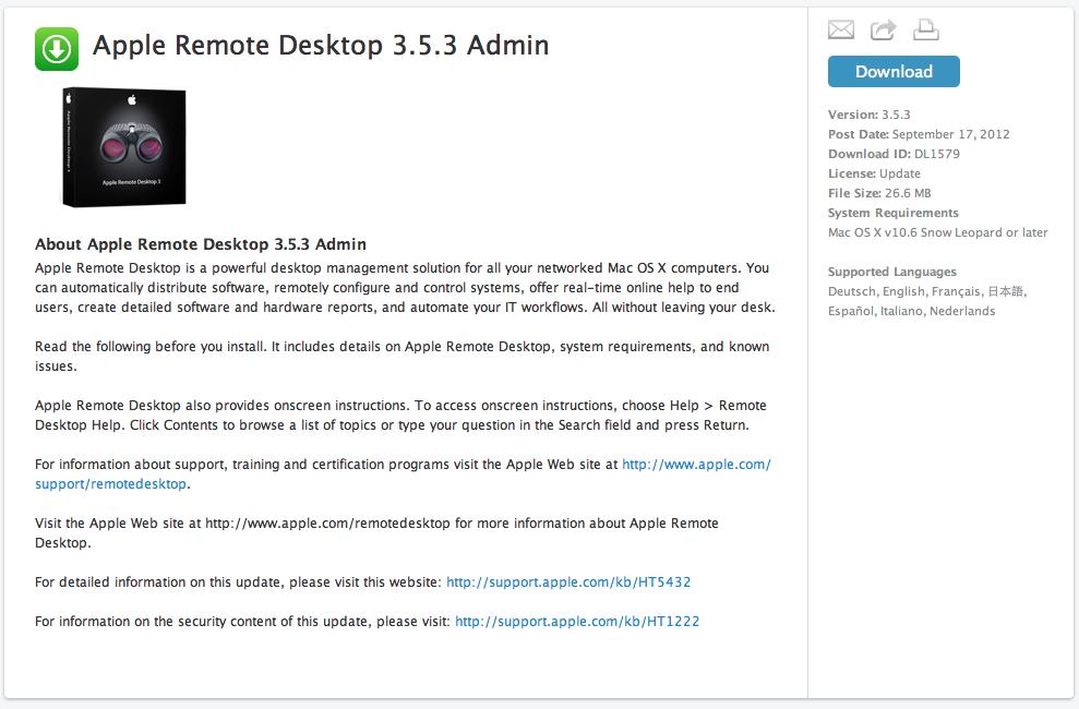 Download Apple Remote Desktop 3.5.3 Admin Apple Remote Desktop Admin 3.5.3 (screenshot)