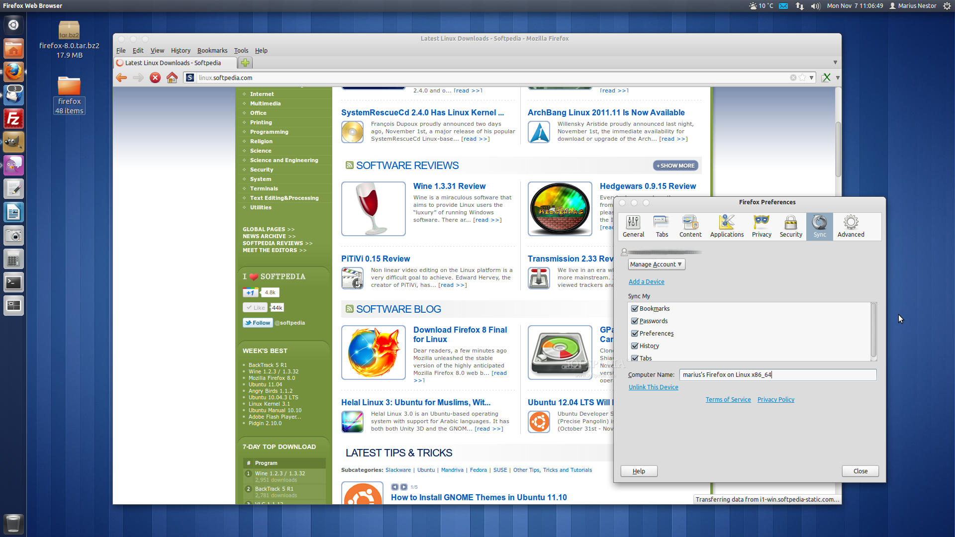 Download Firefox 8 Final for Linux
