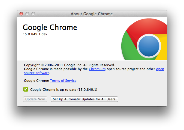 Download Google Chrome 15 0 849 1 Dev for Mac OS X, Beta