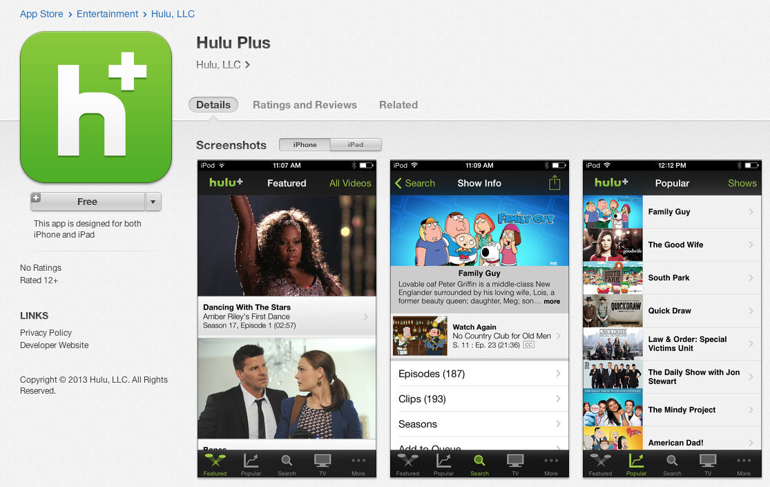 Download Hulu Plus 3 3 with Chromecast Support for iPad