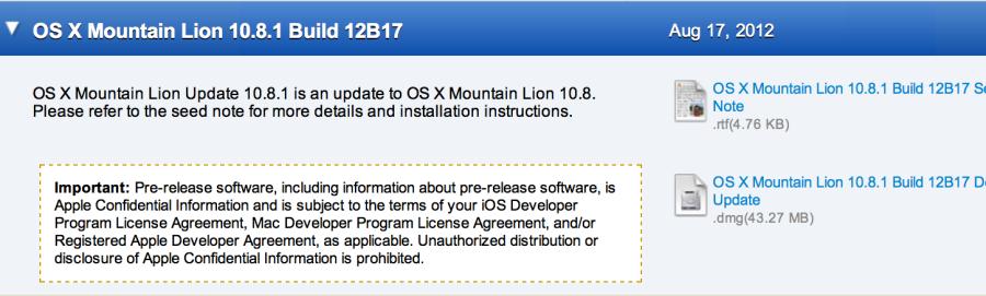 Download Os X Mountain Lion 1081 Build 12b17 Developer News