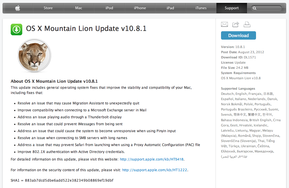 Download OS X 10 8 1 Mountain Lion – Official Final Release