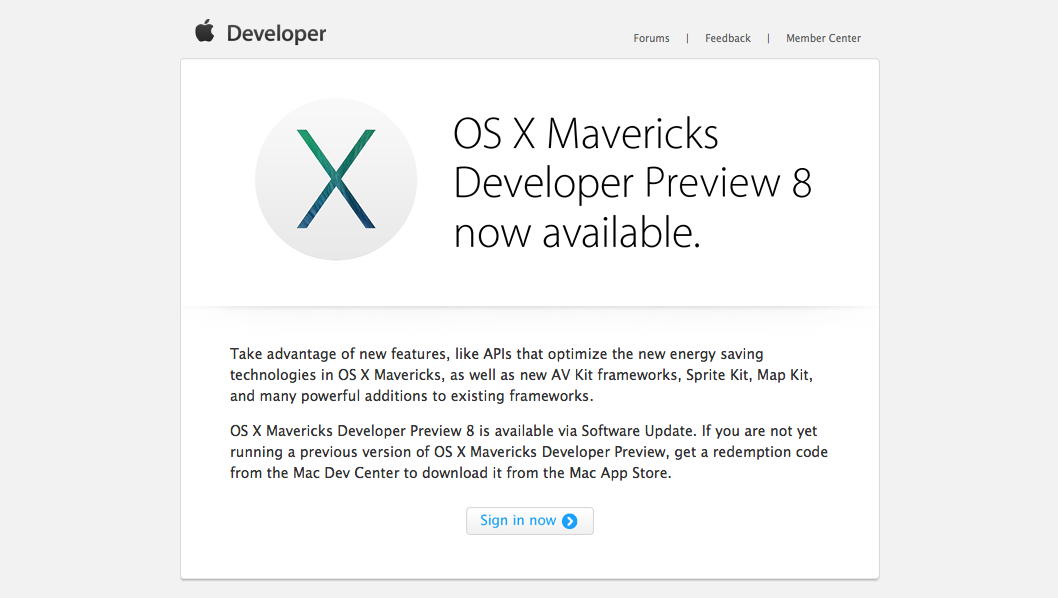 Download OS X Mavericks Developer Preview 8