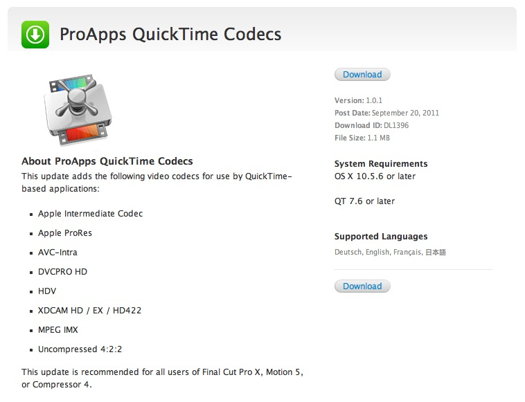 Download ProApps QuickTime Codecs 1 0 1