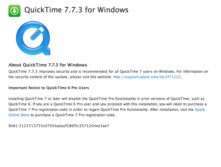 quicktime 7 xp download
