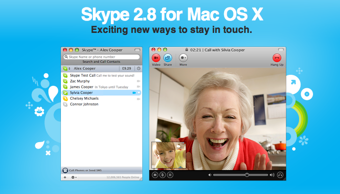 Download Skype 2 8 0 for Mac OS X
