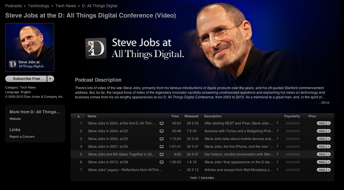download six historical steve jobs video interviews free on itunes