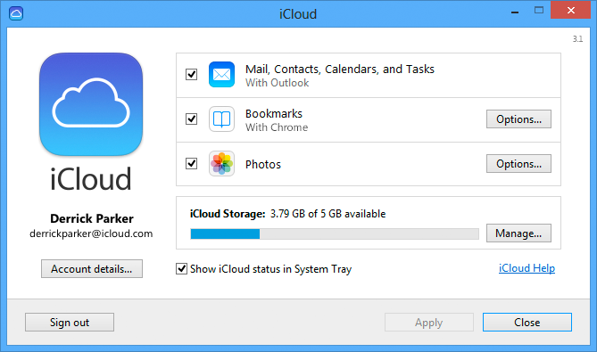 Download iCloud Control Panel 3 1 for Windows