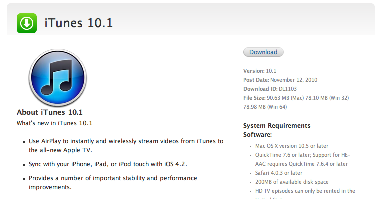 Download iTunes 10 1 for iOS 4 2 Support, AirPlay