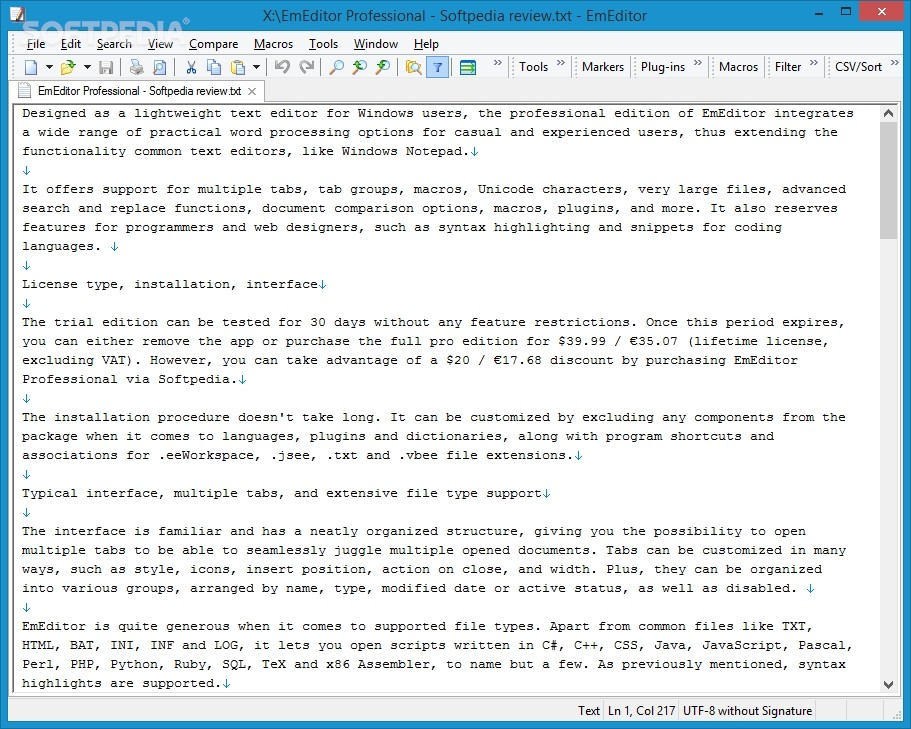 EmEditor Professional Review - Intricate Text Editor for Seasoned Users