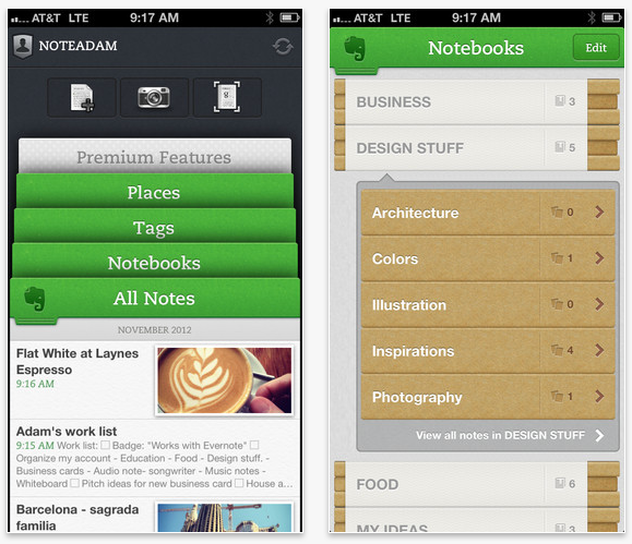Evernote 5 goes live on the itunes app store evernote ios screenshots reheart Gallery