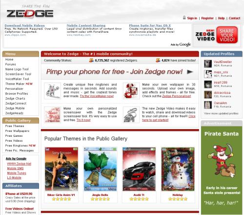 Zedge's main page