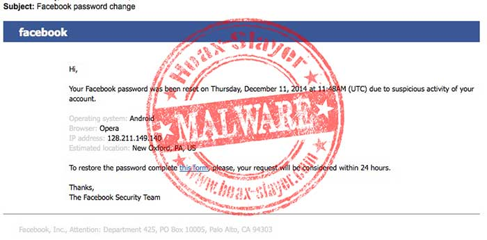 Facebook Password Change Email Leads to Asprox Malware
