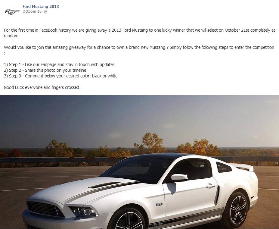 Facebook Scam: 2013 Ford Mustang Giveaway